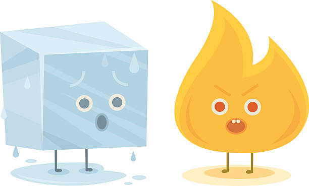 fire and ice characters - melting stock illustrations