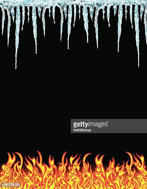 Fire and Ice, Flames & Icicles, Hot-n-Cold Background