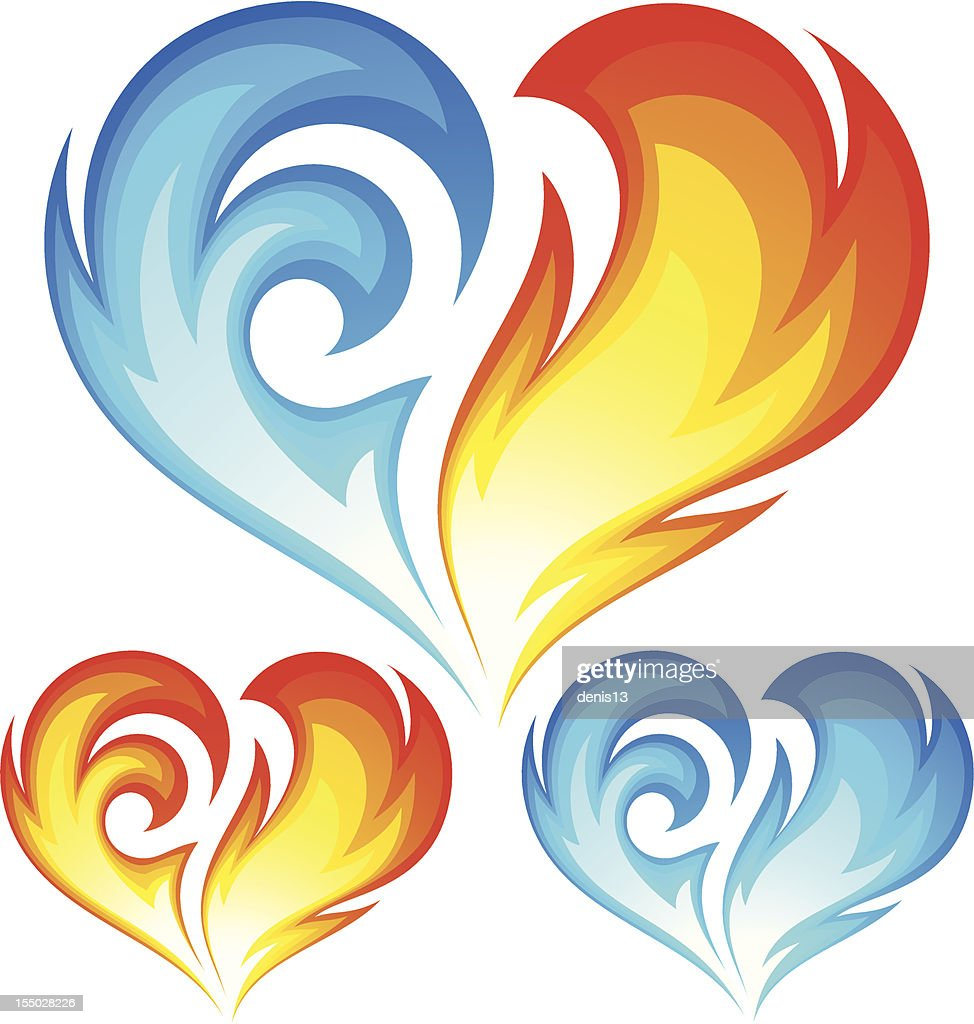 Fire and Ice vector heart. Symbol of love