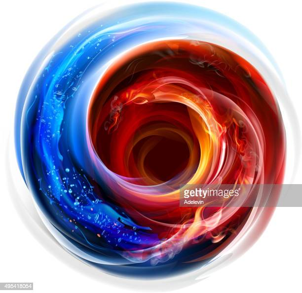 stockillustraties, clipart, cartoons en iconen met fire and water swirl background - spinning