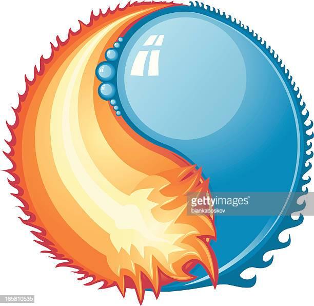 ilustraciones, imágenes clip art, dibujos animados e iconos de stock de fuego y el agua - llamas de fuego