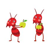 Fire ants with green apples cartoon character.
