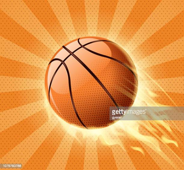 fire basketball icon - basketball ball stock illustrations, clip art, cartoons, & icons