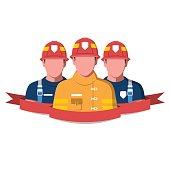 Fire brigade flat vector illustration