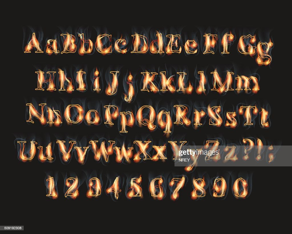 Fire burning alphabet and numbers font