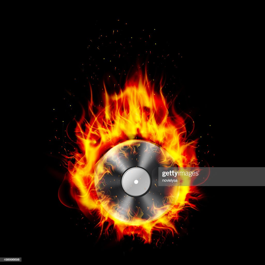 Fire burning CD black background