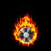 Fire burning CD black background