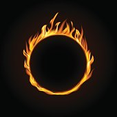 Fire burning circle on a black background