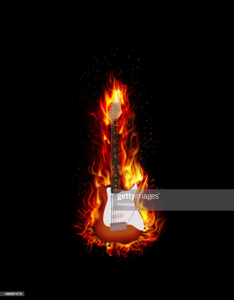Fire burning guitar black background