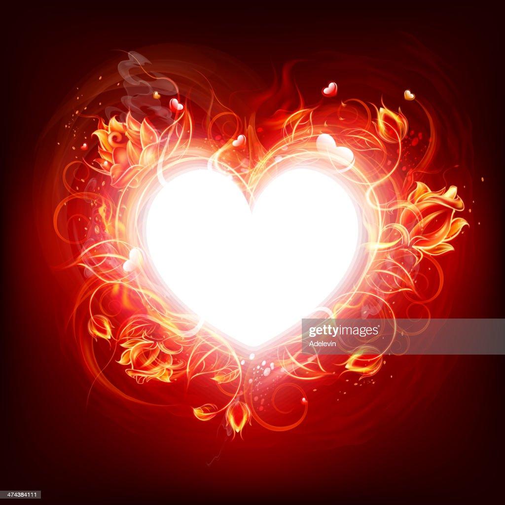 燃え盛る暖炉の中心 : ベクトルアート