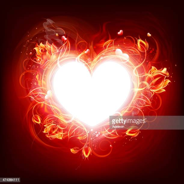 Fire burning heart
