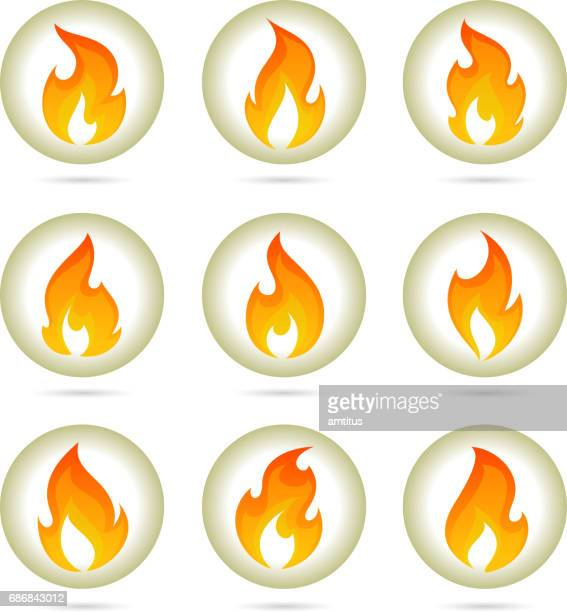fire buttons - sport torch stock illustrations, clip art, cartoons, & icons