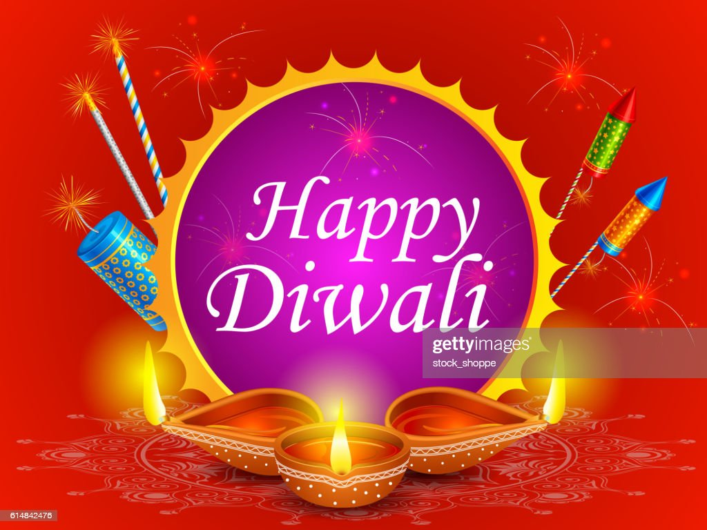 Fire cracker with decorated diya for happy Diwali holiday of
