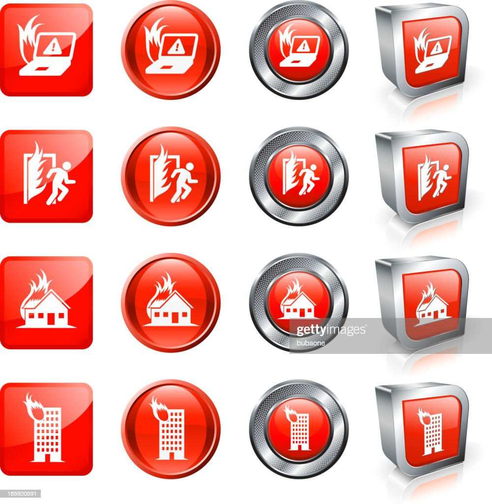 Fire Danger And Accident Royalty Free Vector Button Set Vector Art ...