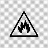 Fire danger sign  - black vector icon