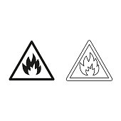 Fire danger sign - green vector icon