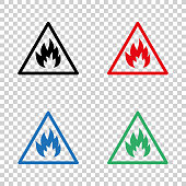 Fire danger  sign - vector icon