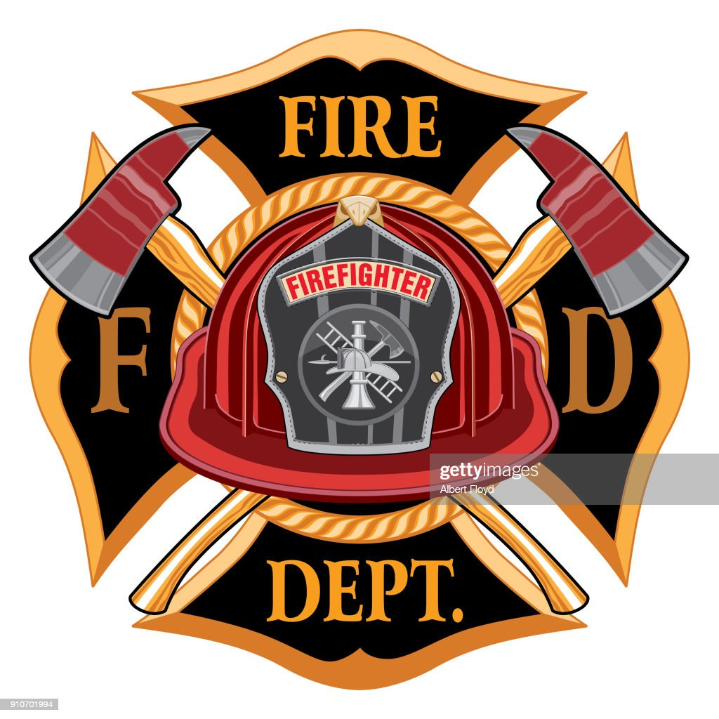 Fire Department Cross Vintage with Red Helmet and Axes