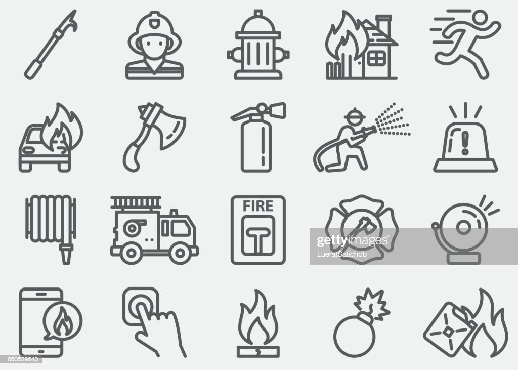 Fire Department Line Icons : stock illustration