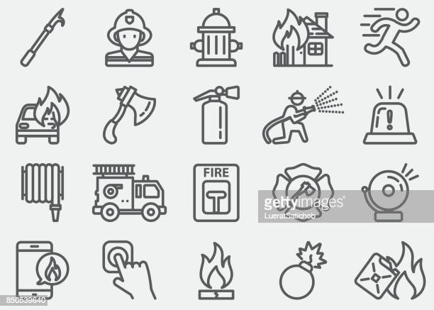 fire department line icons - fire natural phenomenon stock illustrations, clip art, cartoons, & icons