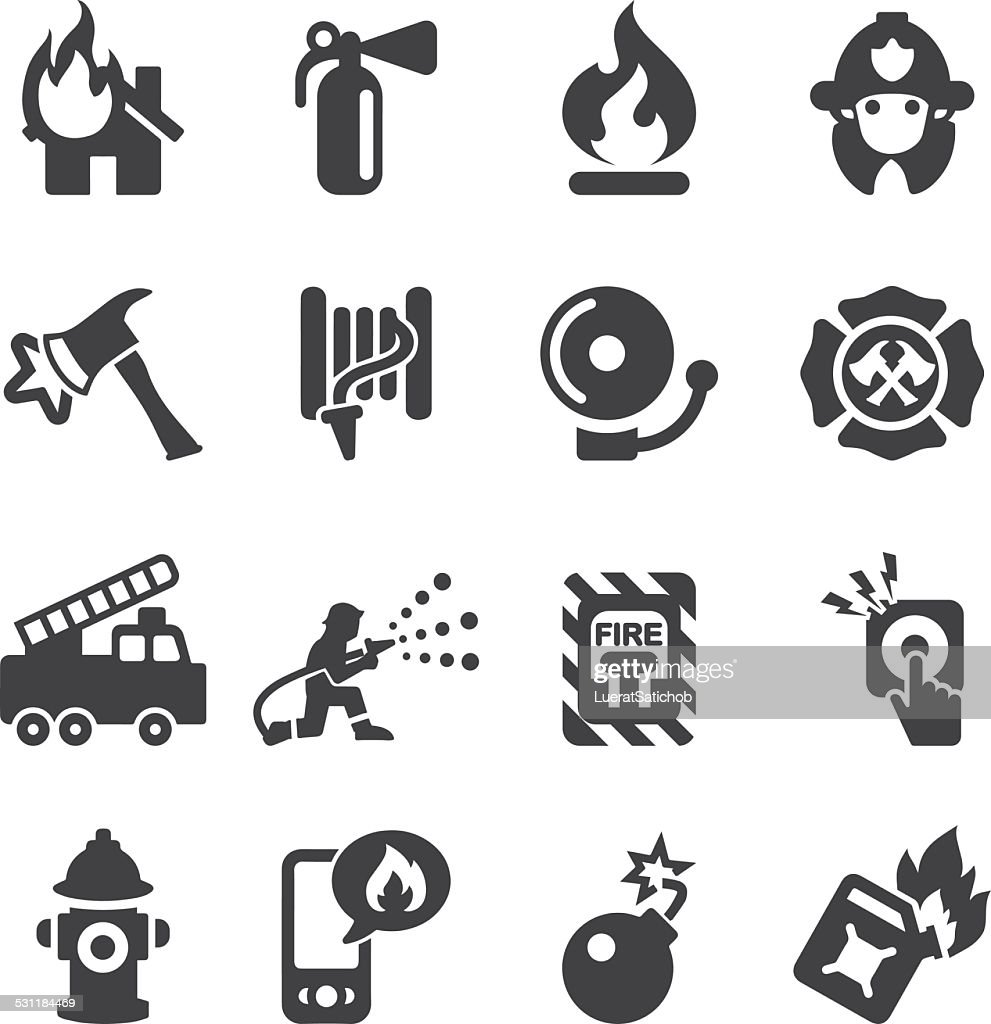 Fire Department Silhouette Icons | EPS10 : stock illustration