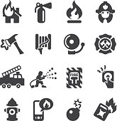Fire Department Silhouette Icons | EPS10