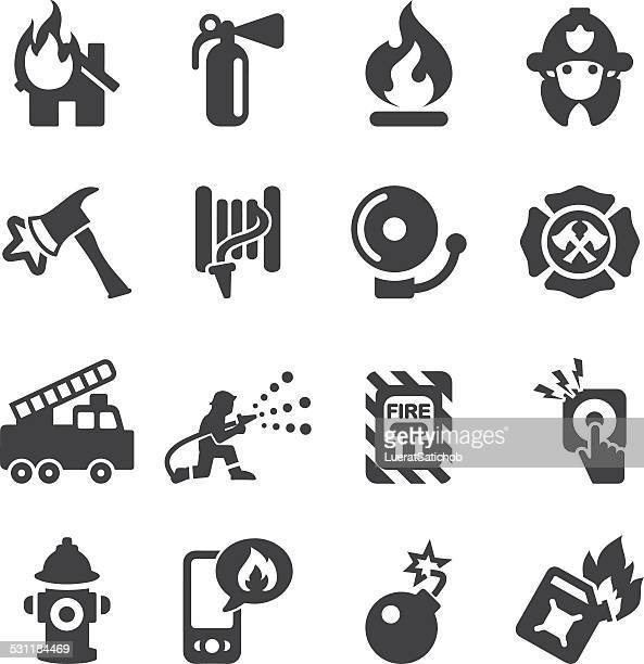 fire department silhouette icons | eps10 - fire natural phenomenon stock illustrations, clip art, cartoons, & icons