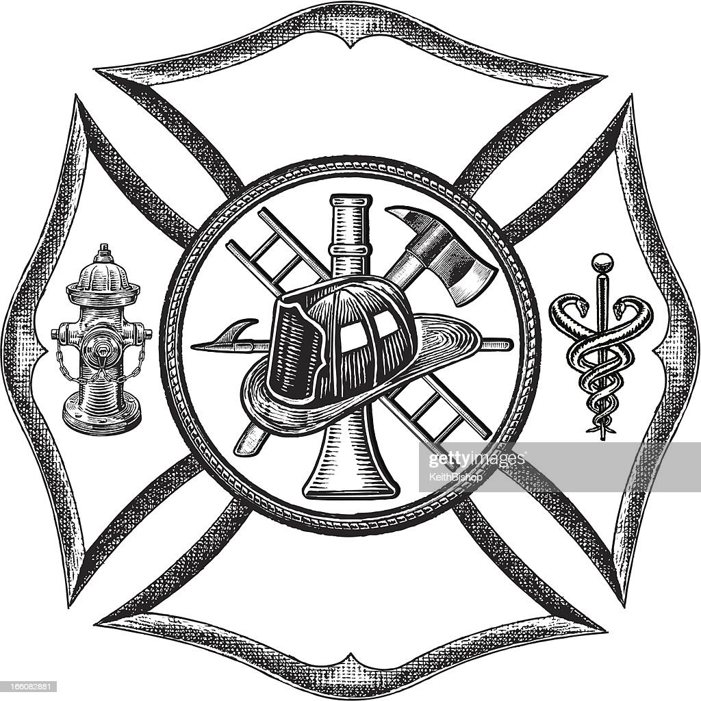 Fire Department Symbol - Retro Style