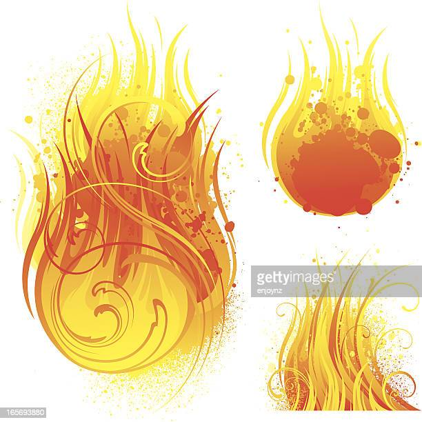 ilustraciones, imágenes clip art, dibujos animados e iconos de stock de diseños de incendios - llamas de fuego