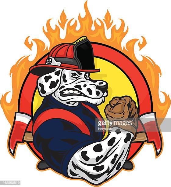 ilustrações de stock, clip art, desenhos animados e ícones de cão de design - corpo de bombeiros