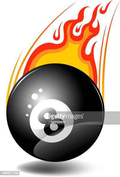 fire eight ball - pool ball stock illustrations, clip art, cartoons, & icons