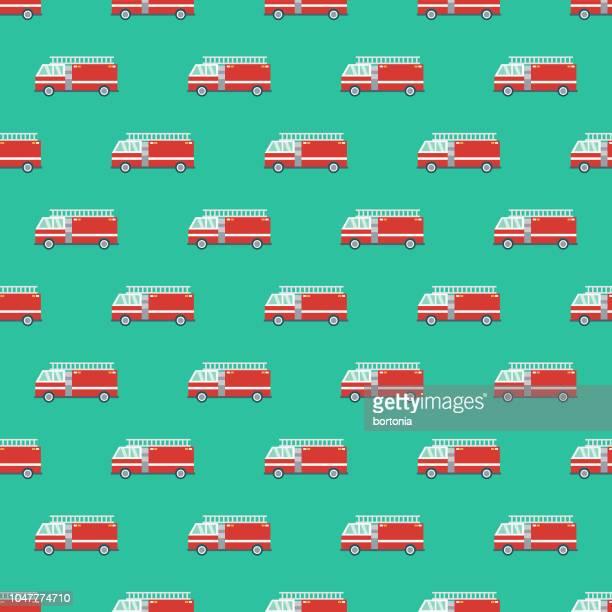 ilustrações de stock, clip art, desenhos animados e ícones de fire engine emergency services seamless pattern - carro de bombeiro