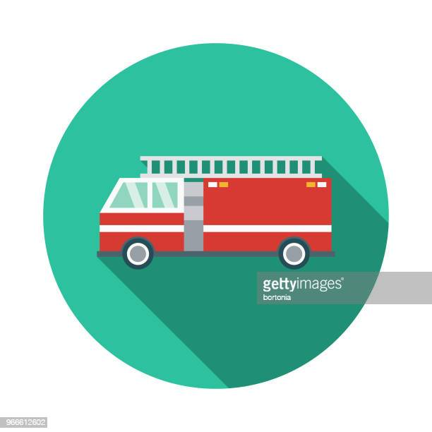 fire engine flat design emergency services icon - fire engine stock illustrations, clip art, cartoons, & icons
