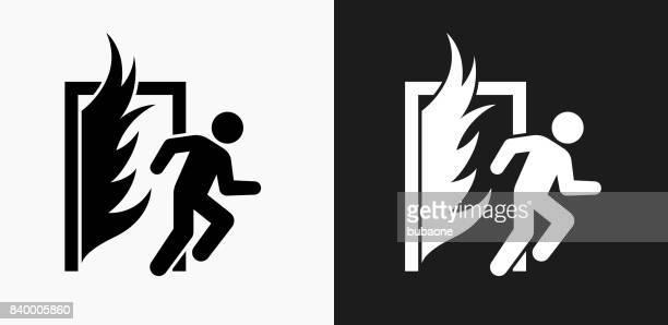 bildbanksillustrationer, clip art samt tecknat material och ikoner med fire escape ikonen på svart och vit vektor bakgrunder - rymma