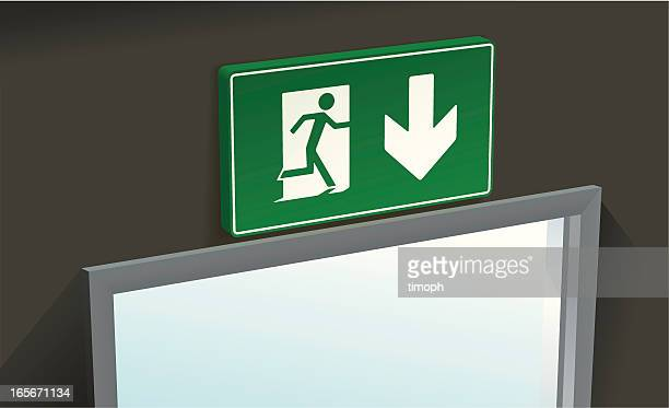 fire exit above - evacuation stock illustrations