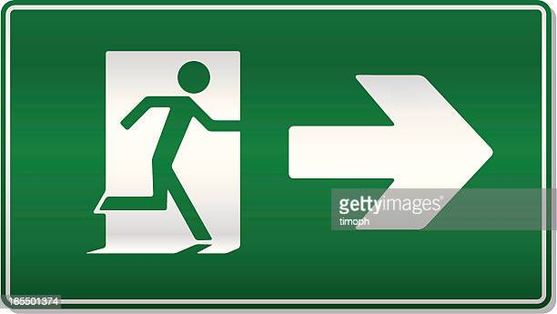fire exit right - exit sign stock illustrations