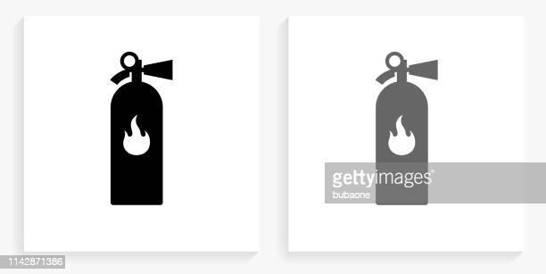 消火器黒と白の正方形のアイコン - 消火器点のイラスト素材/クリップアート素材/マンガ素材/アイコン素材