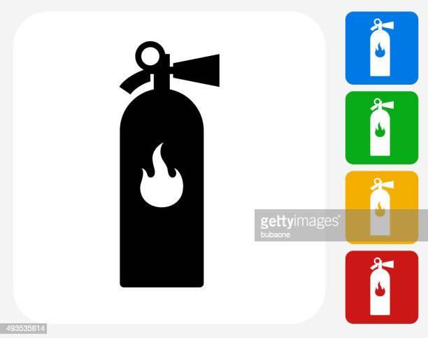 Extintor de iconos planos de diseño gráfico