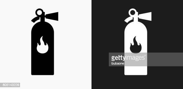Icono de extintor en blanco y negro Vector fondos