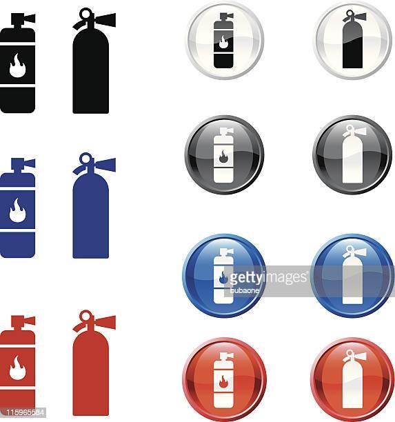 Extintor Vector icono botón set de cuatro colores