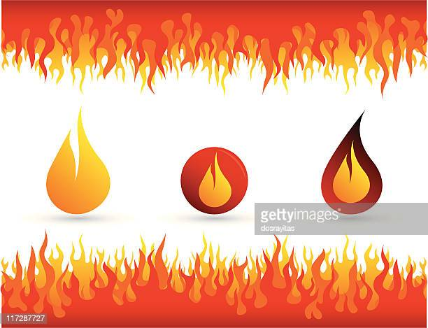 feuer flamme hintergrund und icon - flamme stock-grafiken, -clipart, -cartoons und -symbole