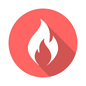 Fire flame circle icon with long shadow. Flat design style.