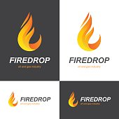 Fire flame drop icon