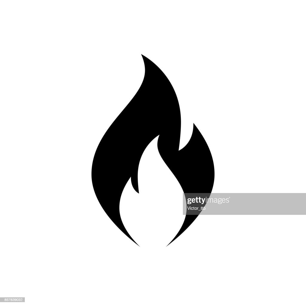 Fire flame icon. Black, minimalist icon isolated on white background.
