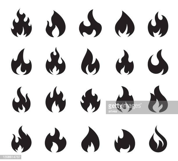 fire flame icon set symbol of fire - flame stock illustrations