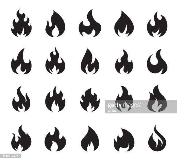 fire flame icon set symbol of fire - 高気圧酸素療法 stock illustrations