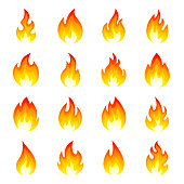 Fire flame icon set