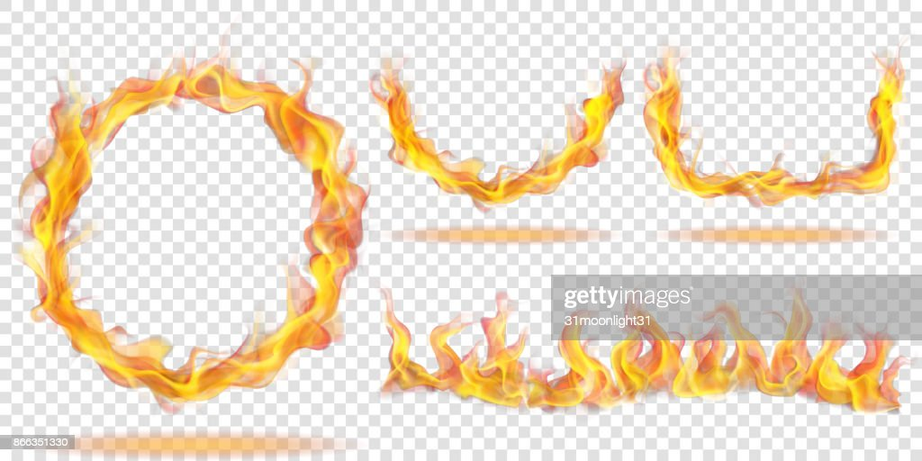 Fire flames for light background