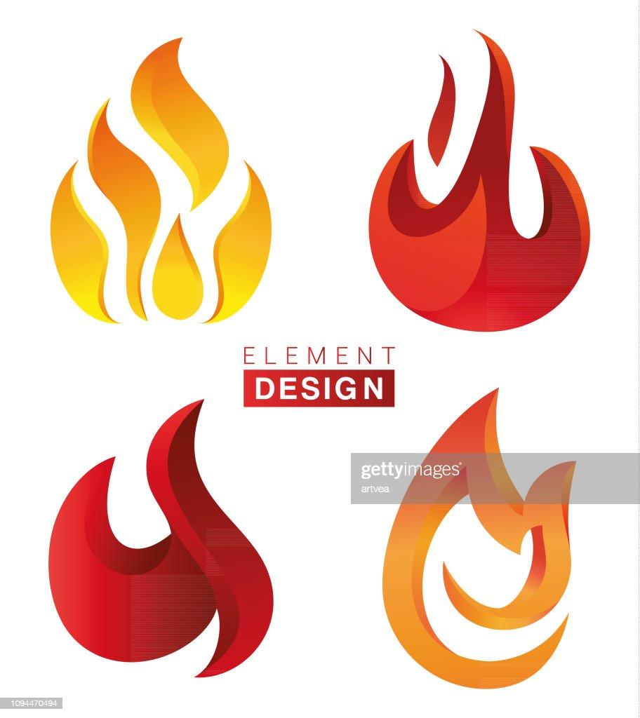 Feuer flammen set und linie lichteffekt. | Premium-Vektor