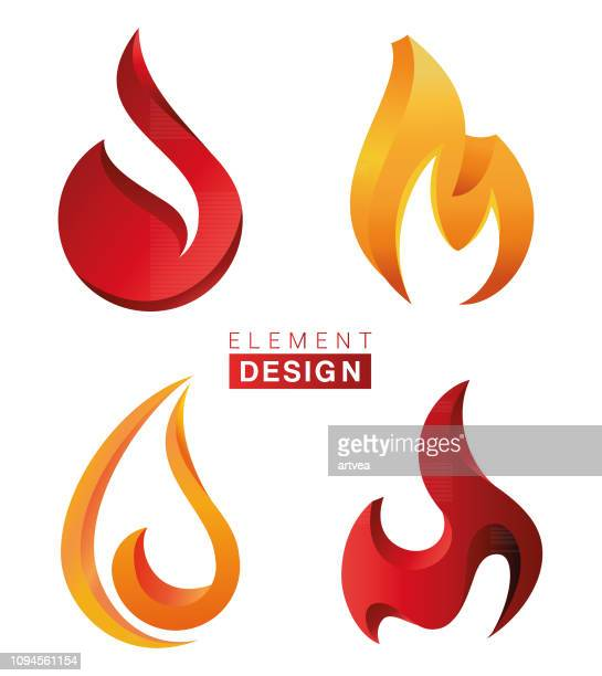 fire flames set - flame stock illustrations